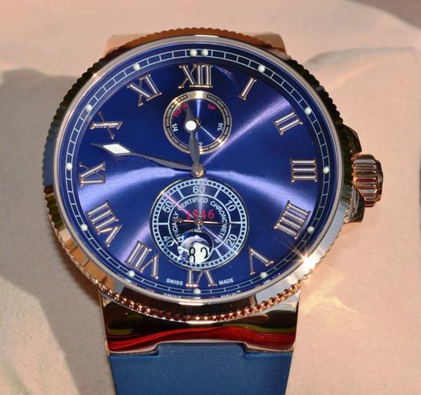 Relojes de oro rosa de lujo de moda para hombres de la marca suiza mecánico UN dial azul correa de reloj de goma fecha automática para hombre deporte reloj de pulsera de cristal nuevo