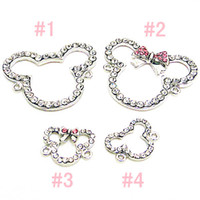 Wholesale Bow Bangles - FREE SHIPPING,High Quality 5 Pink Bow Crystal Small Cute Minnie Mouse Bracelet Connector Charms Bead Findings Jewelry Bangle Cartoon Jewelry