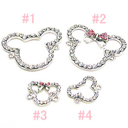 Wholesale Wholesale Jewelry Pink Bow - FREE SHIPPING,High Quality 5 Pink Bow Crystal Small Cute Minnie Mouse Bracelet Connector Charms Bead Findings Jewelry Bangle Cartoon Jewelry