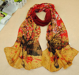 Wholesale Oil Paintings Scarves - 2015 Korean Style Chiffon Printed Scarves For Women Girl Fashion Love Tree Scarf Oil Painting Pattern