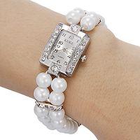 Wholesale Diamante Watches - New Arriva lFree Shipping 10pcs lot Women's Diamante Square Dial Peal Band Quartz Analog Bracelet Pearl Watch