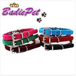Wholesale Velvet Puppy - 10% off for 30pcs!10MM Soft Velvet Puppy Dog Collar!DIY Name Personalized Pet Collar Pet supplies (Price Exclude Sliders)
