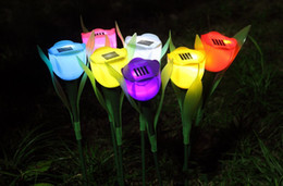 Outdoor Flower Gardens Canada - Solar Powered Tulip flower light Outdoor Yard Garden Path Way Solar Power LED Tulip flower 7 color to choose 10pcs lot