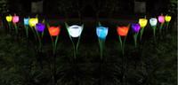 luces verdes de jardinería solar al por mayor-Solar Powered Tulip flower light Patio exterior Jardín Camino Way Energía solar LED Tulip flower 20pcs / lot