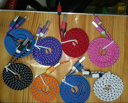 Wholesale Sumsang S3 - Colorful Noodle Fabric Braided Micro USB Data Charger Cable for Sumsang Galaxy S4 S3 i9500 N7100 For HTC One 1000pcs lot