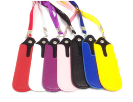 Wholesale E Cig Pouches - Portable PU Ego Leather Lanyard Carrying Pouch Pocket Neck Sling Rope Lanyards for ego-t ego-c twist ego-w e cig with ce6 ce7