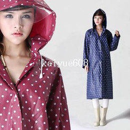 Wholesale Dot Raincoat - Free Shipping 1 PCS Lot Women Ladies Waterproof Rain Coat Dot Girl Outdoor Travel Raincoat with Removable Hat High Quality Nylon