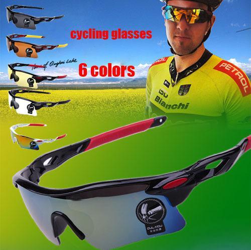 2014 Лучшие прохладно спорта Велоспорт очки велосипед Мотоцикл мужчин очки 6 цветов Бесплатная доставка!