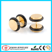 Wholesale Ear Rings Plug Tunnels - Gold Titanium Anodized Cheater Plugs with O-Rings Fake Ear Plug Earrings Free Shipping