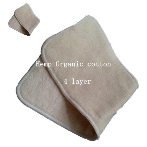 best selling hot sale Baby Hemp Organic cotton 30pcs 4 Layers(2+2)Washable Baby Cloth Diaper Nappy inserts