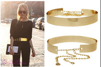 Wholesale Metal Belt Plated - Fashion Women Full Gold Silver Metal Mirror Waist Belt Metallic Gold Plate Wide Obi Band With Chains