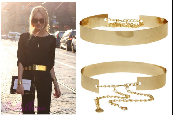 Fashion Women Full Gold/Silver Metal Mirror Waist Belt Metallic Gold Plate Wide Obi Band With Chains