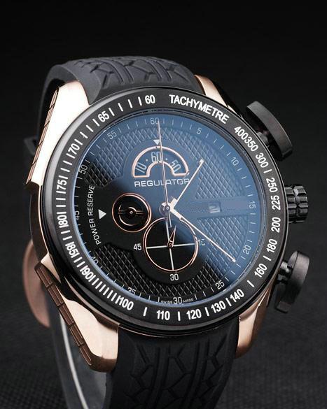 Free Shipping Luxury Swiss Brand Rose Gold 18K Watches PS Regulator Power Reserve Fashion Men's Quartz Chronograph Black Rubber Mens Watch