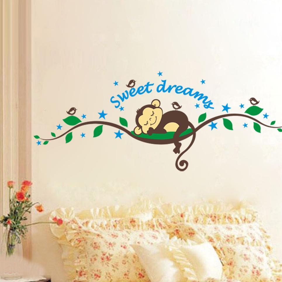 Sweet Sleeping Monkey Tree Wall Stickers Cute Cartoon Wall Decals Kids Children Bedroom Fashion Wall Decor Good Quality 2014 Hot Selling