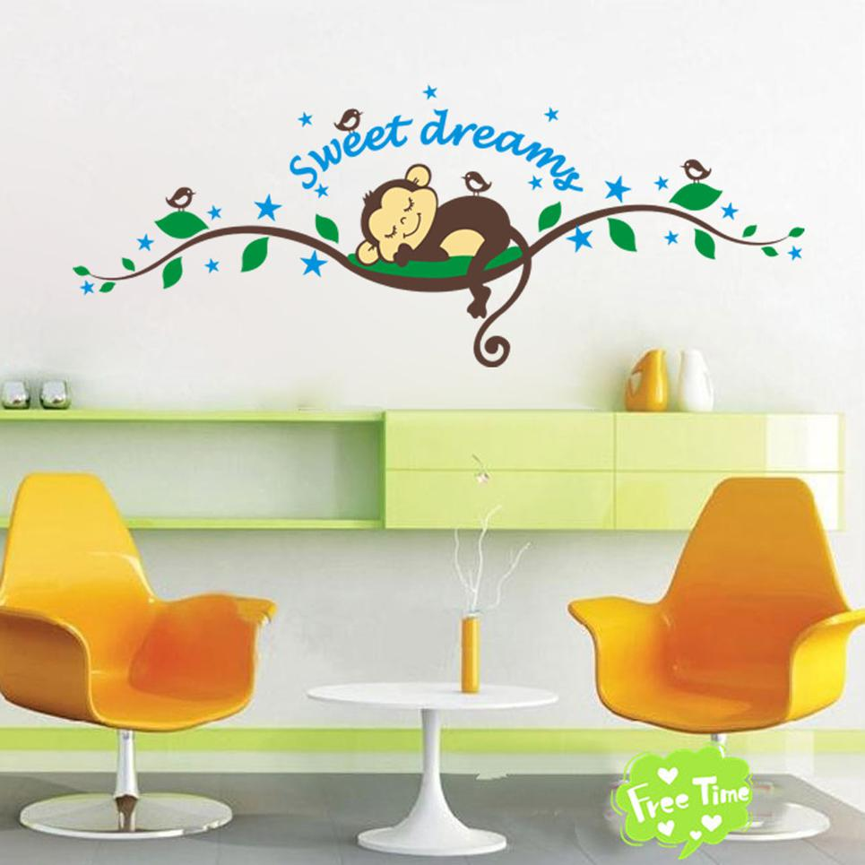 Sweet Sleeping Monkey Tree Wall Stickers Cute Cartoon Wall Decals Kids  Children Bedroom Fashion Wall Decor Good Quality 2014 Hot Selling Nursery  Wall ... Part 67