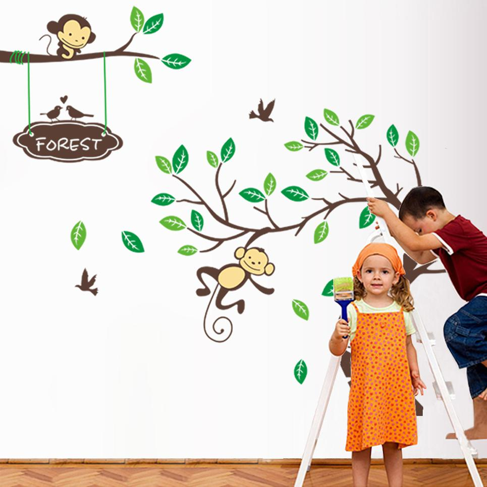 pop cute playing monkey forest tree wall stickers cartoon wall pop cute playing monkey forest tree wall stickers cartoon wall decals kids children bedroom fashion wall decor good quality 2014 hot selling wall decal
