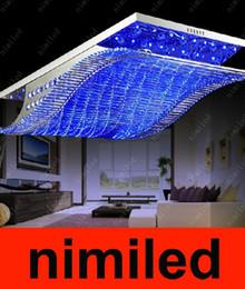 Wholesale European Led Crystal Chandeliers - nimi252 L65 81 108cm European Crystal Light Chandeliers Ceiling Lamp Rectangular Living Room Bedroom Lighting Fixtures Pendant Droplight