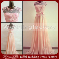 Wholesale Vogue Training - Gorgeous Vogue Prom Dresses Hot Sale Coral A Line Sheer Jewel Neck Lace Appliques Floor Length Chiffon Evening Party Gowns with Sash