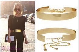 Wholesale Metal Plate Waist Belt - Women Gold Full Metallic Bling Mirror Plate Wide Waist Metal Chain Skinny Belt