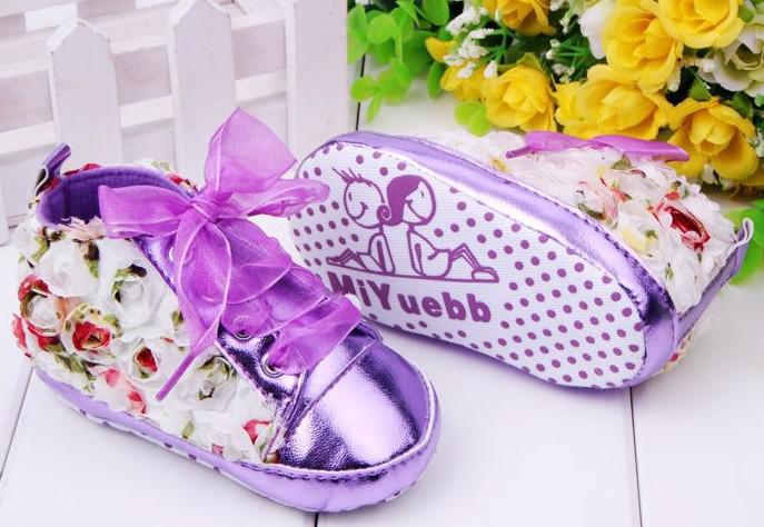 Hot-selling pink flowers design Brand Baby First Walkers boy/Girl Shoes toddler/Infant/Newborn shoes, antislip Baby footwear