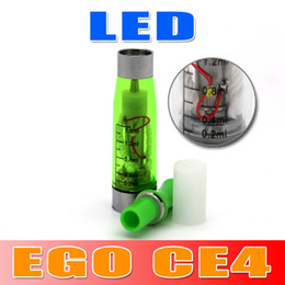Wholesale E Cig Ego Led - Colorful LED CE4 Clearomizer 1.6ml 510 Thread LED Atomizer for EGO Series E Cig Free ePacket Shipping Seven--eleven