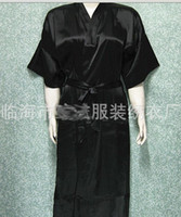 Wholesale Ladies Satin - Unisex mens Ladies womens Solid plain Satin long Robe Pajama Lingerie Sleepwear Kimono Gown pjs #3449