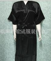 ingrosso pigiama unisex-Unisex uomo Donna donna Solido Satin lungo Robe Pigiama Lingerie Sleepwear Kimono Abito Pjs # 3449