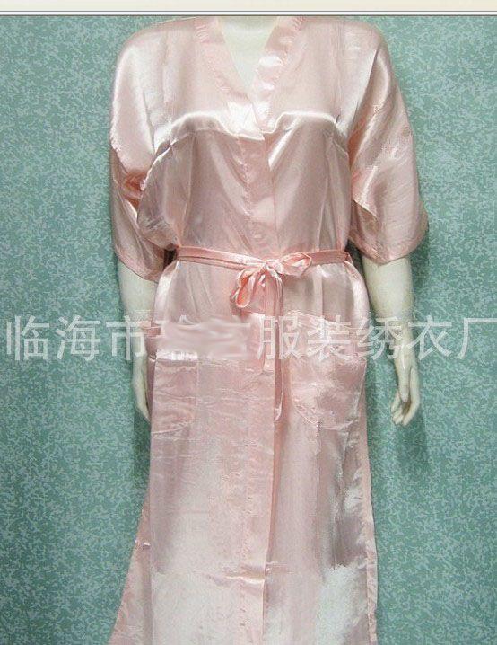Unisex Mens Damen Damen Solid Plain Satin lange Robe Pyjama Dessous Nachtwäsche Kimono Kleid pjs # 3449