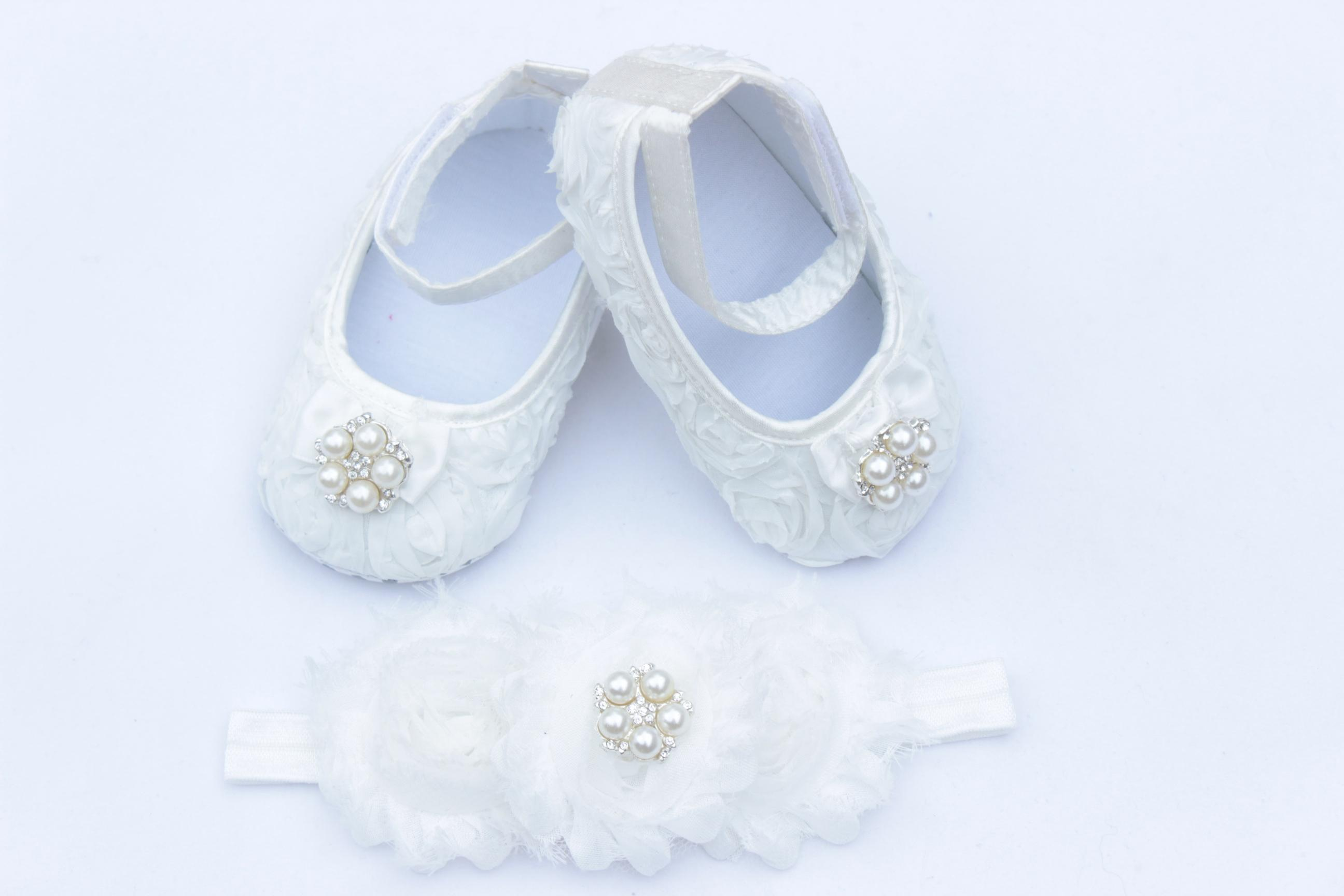 2018 White Baby Crib Shoes Baby Shoes And Headband Christening
