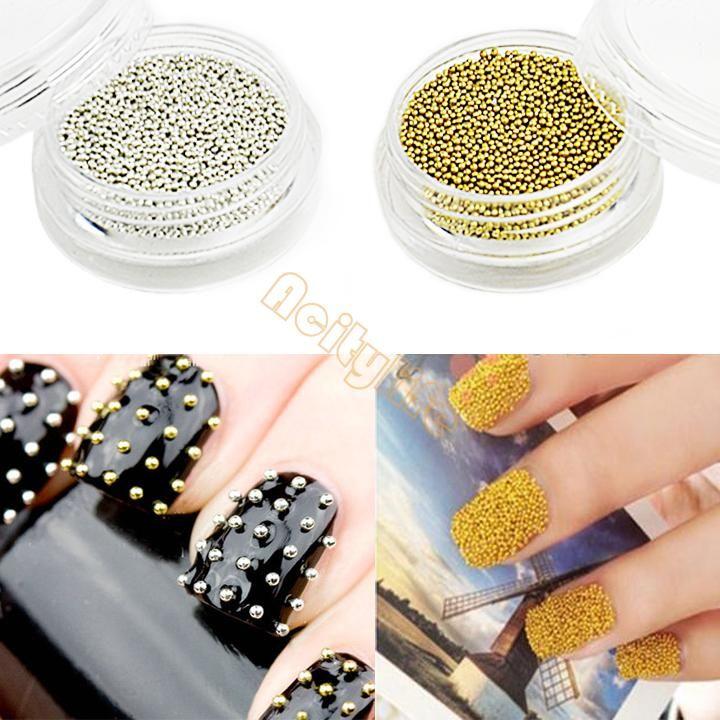Beauty Nail Art Fashion Golden &Amp; Silver New 1mm Metallic Caviar ...