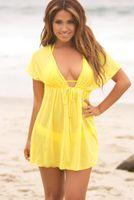 Wholesale Beach Wrap Skirt Sexy Bikini - Summer Sexy Beach Wrap Skirt Swimwear Yellow Dress Swimsuit Women 's Sarong Bikini Beach Cover-ups Pareo Skirts
