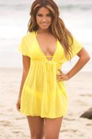 ingrosso swimwear giallo bikini-Costume da bagno estivo con gonna a fascia nera Costume da bagno a manica lunga con gonna bikini per donna