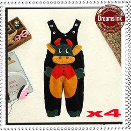 Wholesale Baby Lapel Romper - 2014 Spring Corduroy Baby Romper Clothing Summer Gentleman Cartoon trousers Infant Rompers lapel Kids Jumpsuits 4sizes 4pcs lot