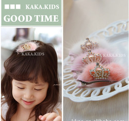 Wholesale Mink Clip - Cute!!! High Quality Baby Girls Tiaras Kids Accessories Resinstone Mink Fur Princess Gold Crown Hair Clips Children Accessories