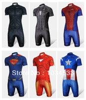 Wholesale Men S Batman Costume - Spider-Man Black Venom Iron Man Batman Superman Captain America Costume Cycling Kit Bicycle Suit Short Jersey+Short