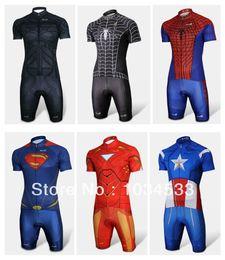 Wholesale Blue Cycling Kits - Spider-Man Black Venom Iron Man Batman Superman Captain America Costume Cycling Kit Bicycle Suit Short Jersey+Short