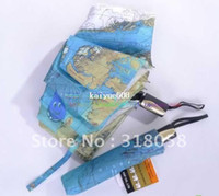 Wholesale Wholesale Auto Fabric - 48pcs lot Hot Selling World Map Umbrella Anti-UV Water repellent Auto open and close Umbrella