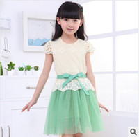 Wholesale Mermaid Wholesale Products - Children's skirt Girls dress with short sleeves New product in the summer of children's wear Children bud silk dress Foreign trade children