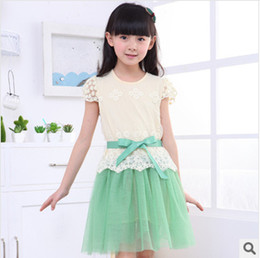 Wholesale Dot Lace Dress Girl Green - Children's skirt Girls dress with short sleeves New product in the summer of children's wear Children bud silk dress Foreign trade children