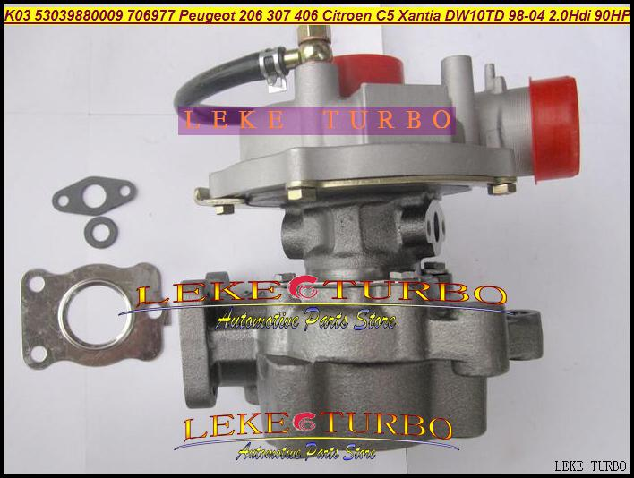 K03 9 53039880009 53039700009 706977-0003 706977 Turbo Turbocompresseur Pour Peugeot 206 307 406 Citroën Xantia DW10TD 1998-04 2.0L HDI 90HP 66KW