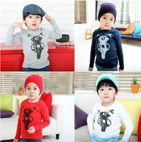 Wholesale WD219 Spring autumn children boy motorcycle pattern long sleeve prime shirt kid T shirt Y