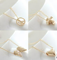 Wholesale Korean Pendant Design - New Korean Simple Necklace Pray Pattern Pendant Necklace Many Design Necklace