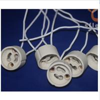 adaptador ba15d venda por atacado-Freeshipping 100 pçs / lote GU10 suporte da lâmpada soquete adaptador de Base de Fio Conector de Tomada de Cerâmica para LED Luz de halogéneo