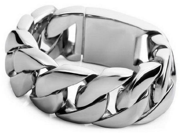 180g Stora 316L Rostfritt stål CURB CUBAN LINK BRACELET Kedja Mäns tunga smycken 26mm * 21.5cm silver