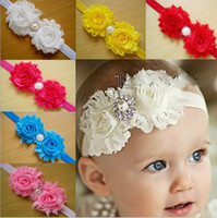 Wholesale Satin Head Accessories - Wholesale - Shabby Baby Head Bands Satin And Chiffon Flower With Pearls Rhinestones Baby Headband Girl Hair Accessories 50PCS LOT Free Shipp