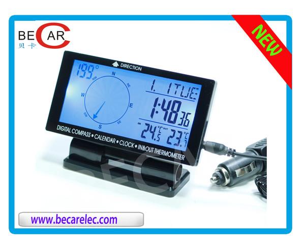 misuratore di Tensione Orologio Digitale Multifunzionale 3 in 1 per Auto termometro in//out