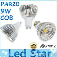 Wholesale Mr16 Led Warranty - PAR20 9W Led COB Bulbs Light GU10 E27 E26 GU5.3 Dimmable Led Spot Lights 600lm AC 110-240V + Warranty 2 Years