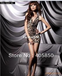 Wholesale Sexy Babydoll Leopard Lingerie - Sexy babydoll lingerie Leopard Backless DRESS+G STRING ,Sleepwear costume UNDERWEAR SET