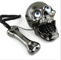 Wholesale Telephone Headset Corded Phones - Free Shipping Skull Phone Fashinon Telephone Skull Telephone Jumping Eyes Skull Phone with Bone Headset black top sale