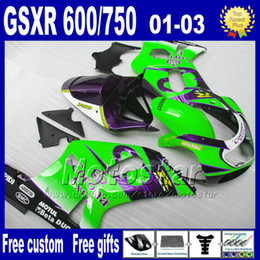 Wholesale green seating - 7gifts fairings kit for SUZUKI K1 2001 2002 2003 GSXR600 750 blue green Corona fairing aftermarket parts 01-03 GSXR 600 750 Lp65+Seat Cowl